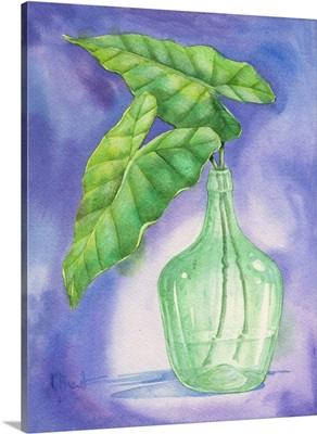 Tropical Leaf in Glass Bottle II