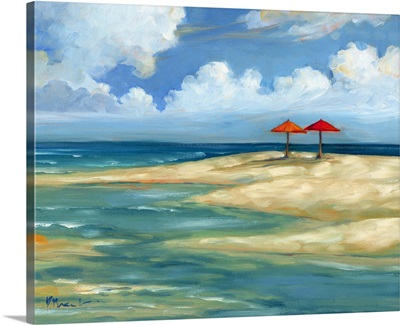 Umbrella Beachscape - Orange and Red