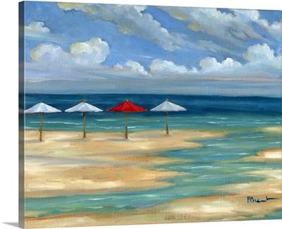 Umbrella Beachscape - White and Red