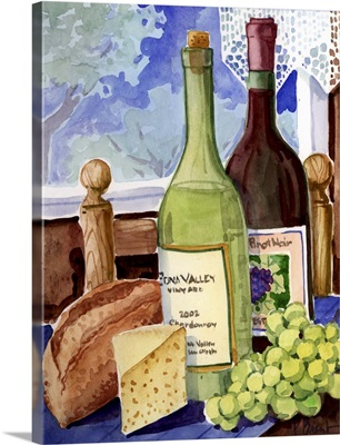 Wine Bottles and Cheese