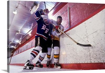 Ice hockey players checking