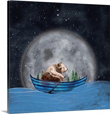 Bear Rowing In The Sea