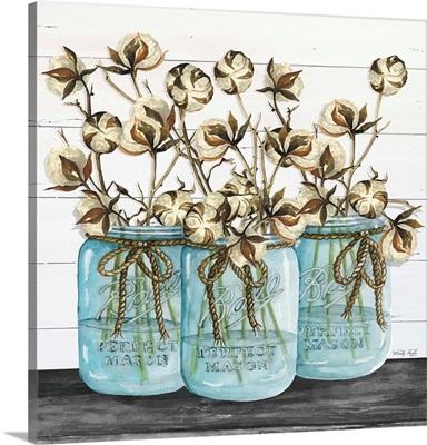 Blue Jars - Cotton Stems