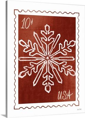 Christmas Stamp Red Snowflake