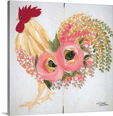 Floral Rooster on White