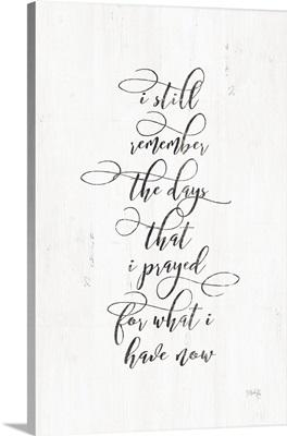 I Prayed