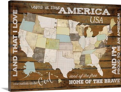Land That I Love USA Map Wall Art Canvas Prints Framed Prints - Us map wall art