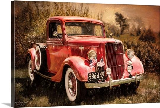 Little Red Truck Wall Art, Canvas Prints, Framed Prints, Wall Peels ...