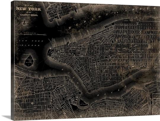 New York City Map Wall Art Canvas Prints Framed Prints Wall Peels - New york city map wall art