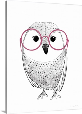 Owl In Pink Glasses