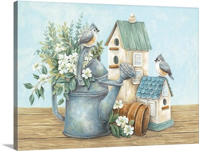 Watering Can and Chickadees