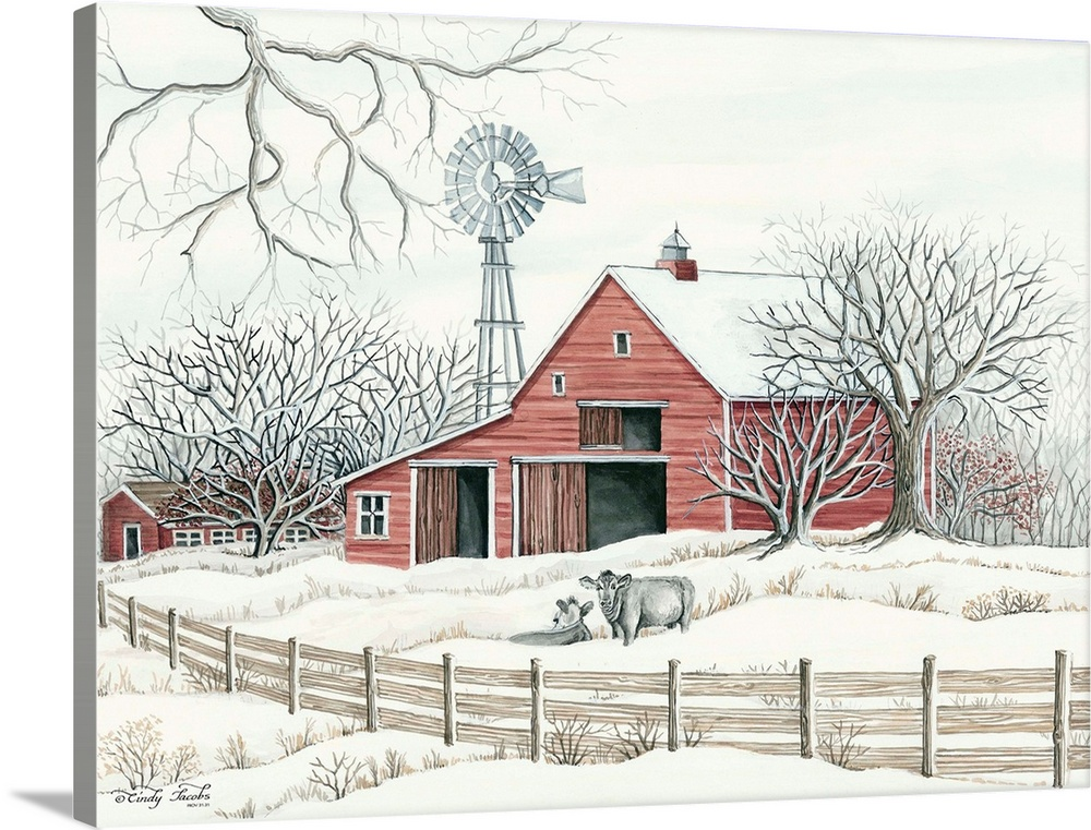 Winter Barn With Windmill Wall Art Canvas Prints Framed Prints Wall Peels Great Big Canvas