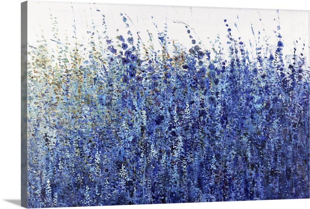 Shades Of Blue Wild Flowers Wall Art Canvas Prints Framed Prints Wall Peels Great Big Canvas