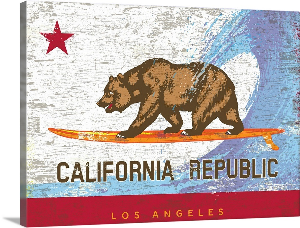 California Surf Bear Flag Los Angeles Wall Art Canvas