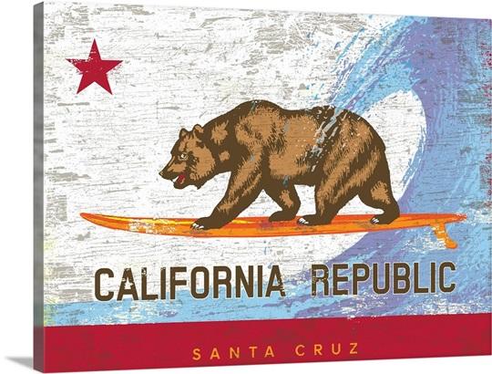 California Surf Bear Flag, Santa Cruz Wall Art, Canvas Prints ...