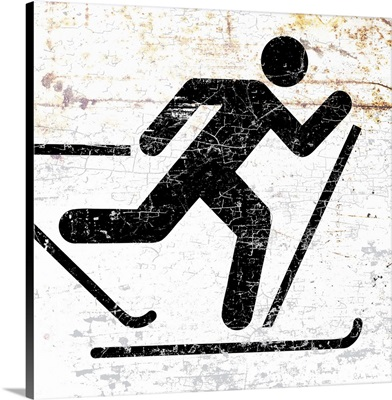 Old and Worn Cross Country Skier Sign