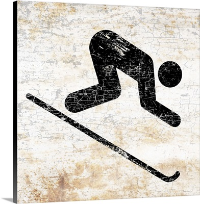 Old and Worn Downhill Skier Sign