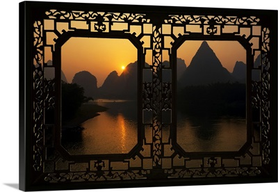 Asian Window, Great View of Yangshuo with Karst Mountains at Sunrise
