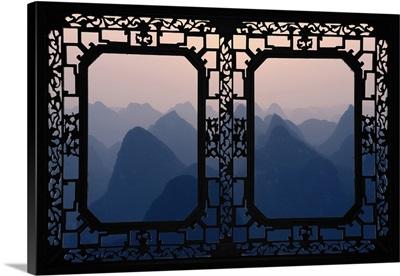 Asian Window, Karst Mountains at Sunset, Yangshuo
