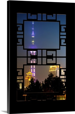 Asian Window, Oriental Pearl Tower at Night, Shanghai