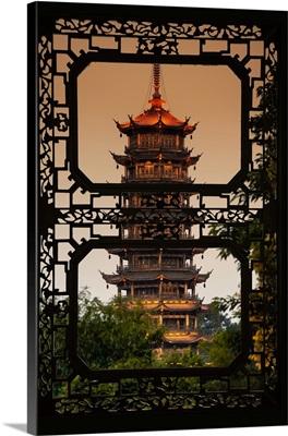 Asian Window, Pagoda at dusk