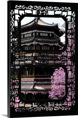 Asian Window, Pink Summer Temple
