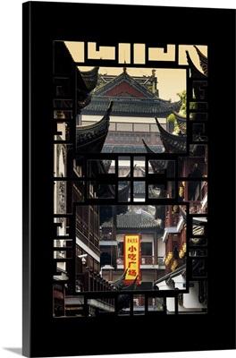 Asian Window, Traditional Architecture in Yuyuan Garden, Shanghai
