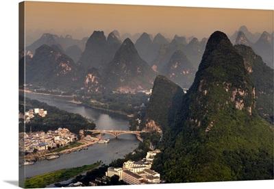 Beautiful Scenery of Yangshuo at sunset