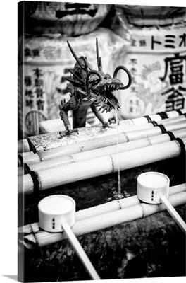 Black And White Japan Collection - Japanese Temple Fountain