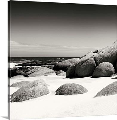 Boulders, White Beach, Black and White