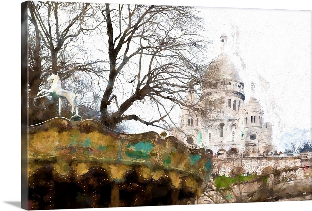 Carousel Montmartre Paris Painting Series