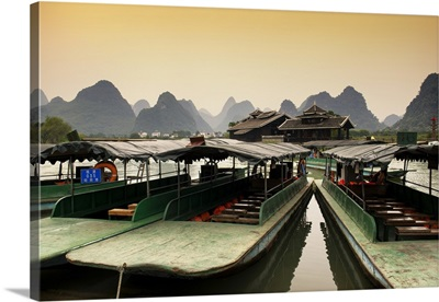 Chinese Boats with Karst Mountains at Sunset