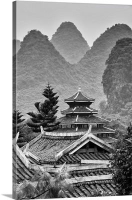 Chinese Buddhist Temple with Karst Mountains