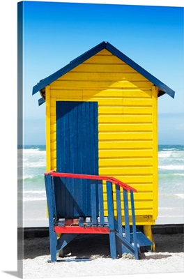 Colorful Beach Hut Cape Town - Yellow and Midnight Blue