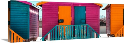 Colorful Beach Huts - Seven Pink
