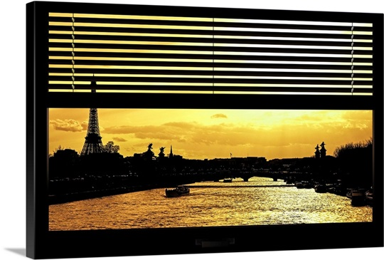 Eiffel Tower, Paris at Sunset - View from the Window Wall Art ...