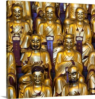 Gold Buddhist Statue in Longhua Temple
