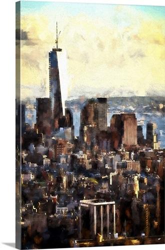 Gotham City II, NYC Painting Series Wall Art, Canvas Prints, Framed ...