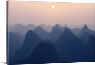 Karst Mountains at Pastel Sunset, Yangshuo