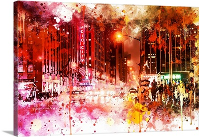NYC Watercolor Collection - Red Night