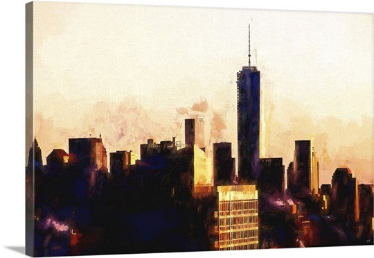 One World Trade Center Sunset, NYC Painting Series Wall Art, Canvas ...