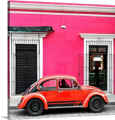 Pink and Red VW Beetle Car