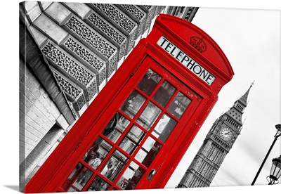 Red Phone Booth in London with Big Ben