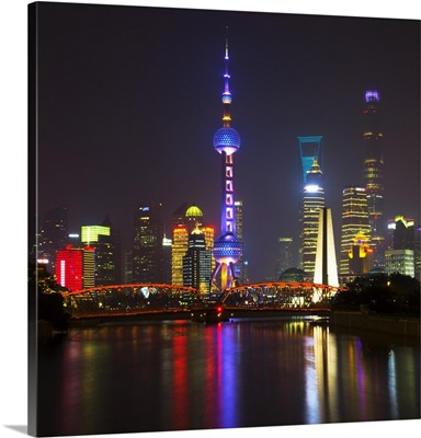 Shanghai Skyline with Oriental Pearl Tower at night