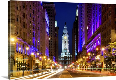 The City Hall and Avenue of the Arts by Night, Philadelphia