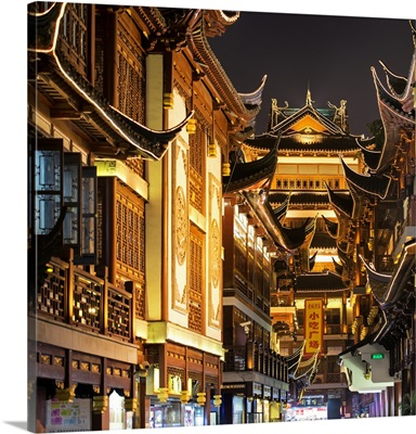 Traditional Architecture in Yuyuan Garden at night, Shanghai