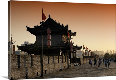 Walk on the City Walls at sunset, Xi'an City