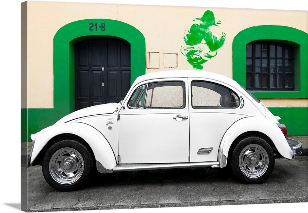 Your Item Was Added To Cart White Vw Beetle Car And Green Graffiti