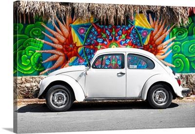 White VW Beetle Car in Cancun