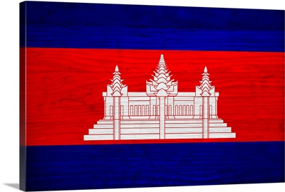 Wood Cambodia Flag, Flags Of The World Series